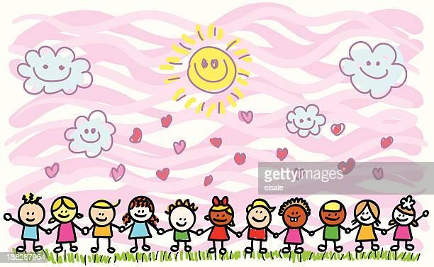 happy children holding hands in nature cartoon