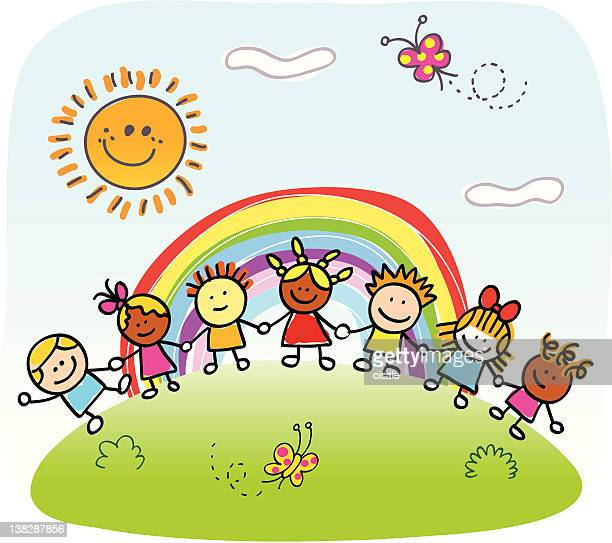 happy children holding hands,  playing outside spring,summer nature cartoon - rainbow stock illustrations, clip art, cartoons, & icons
