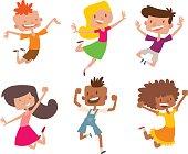 Happy children in different positions vector set.