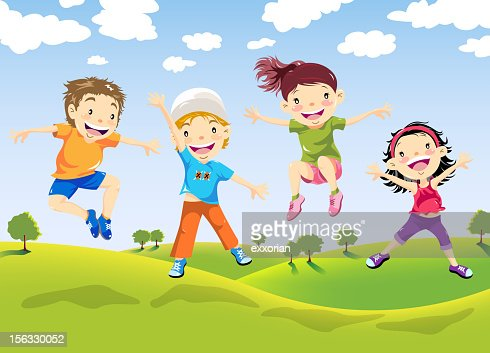 happy children jumping on farm vector art getty images