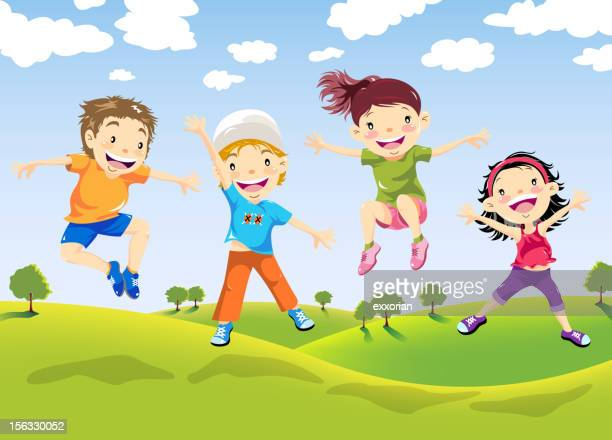 happy children jumping on farm - laughing stock illustrations, clip art, cartoons, & icons