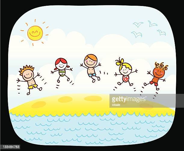 happy children jumping, playing on beach cartoon illustration