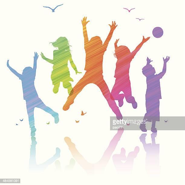 Happy Children Jumping
