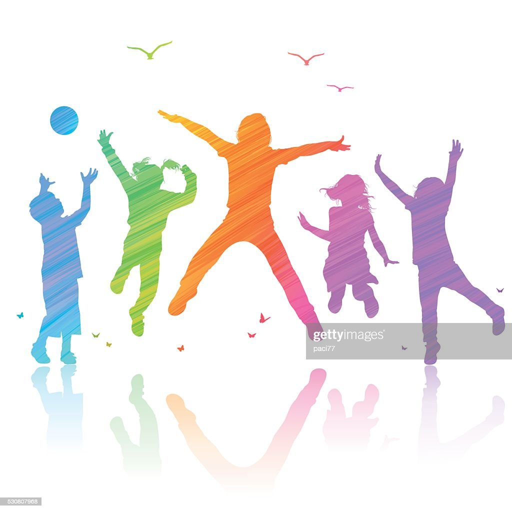 Happy Children Jumping : stock illustration