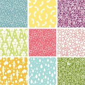 Happy Children Nine Seamless Patterns Set