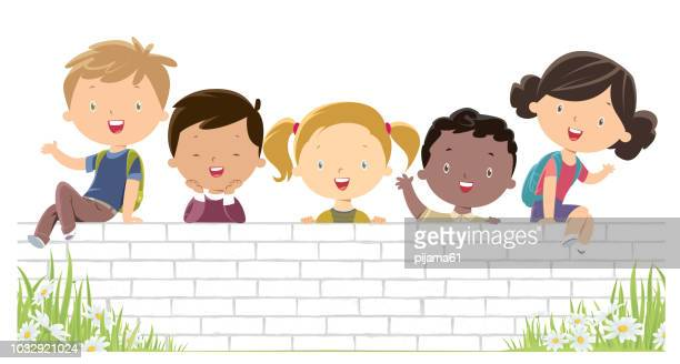 Happy Children on the white wall