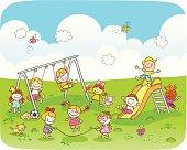 happy children playing at park cartoon illustration