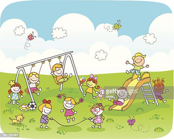 happy children playing at park cartoon illustration