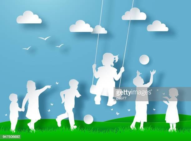 ilustraciones, imágenes clip art, dibujos animados e iconos de stock de niños felices jugando. papel cortado estilo - grupo mediano de personas