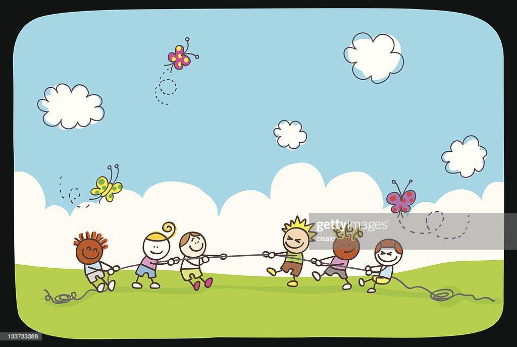happy children playing summer,spring green nature cartoon illustration