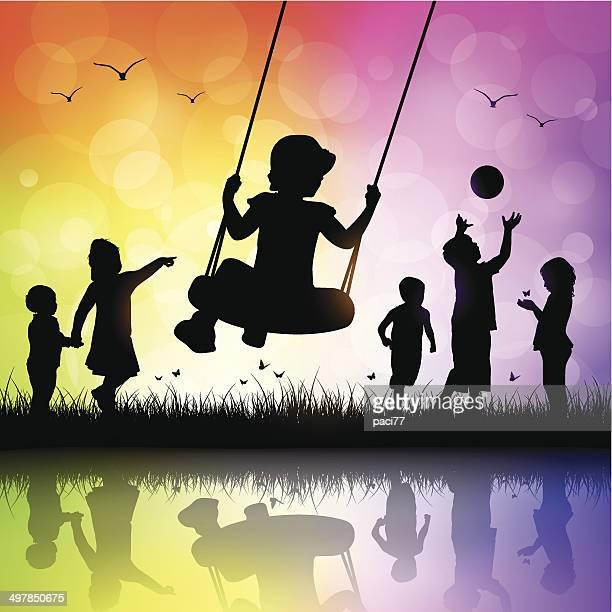 ilustraciones, imágenes clip art, dibujos animados e iconos de stock de happy niños jugando - parque infantil