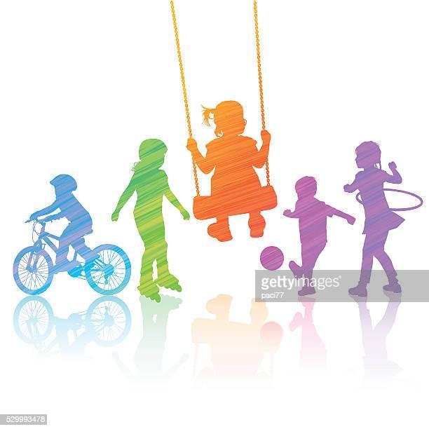 happy children playing - plastic hoop stock illustrations