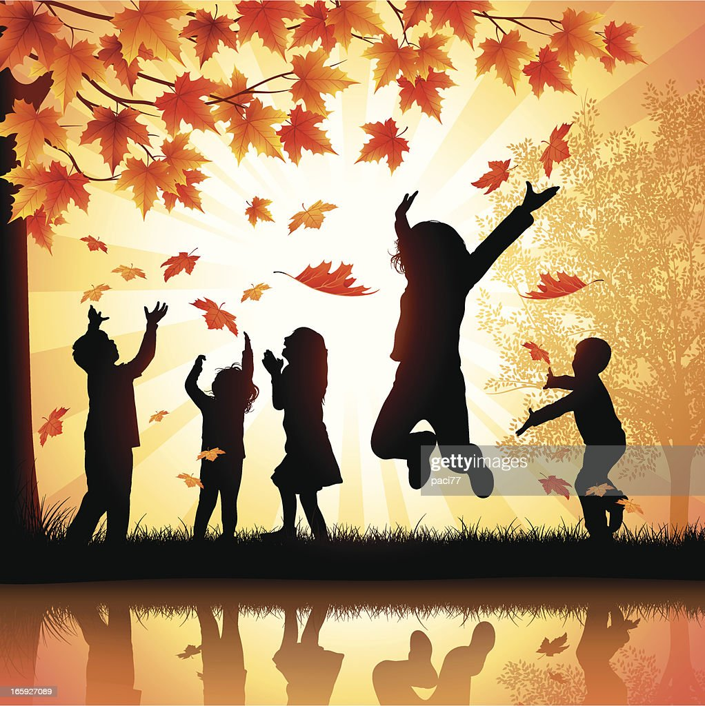 Happy Children Playing with Leaves : stock illustration