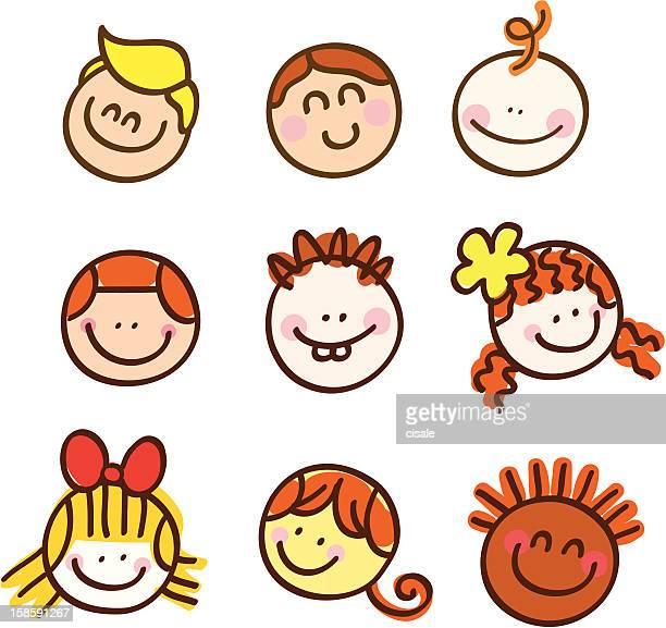 happy children portraits cartoon illustration