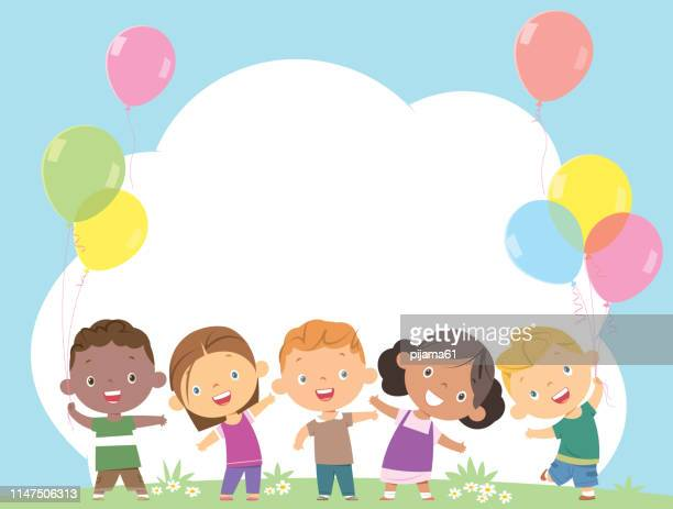 happy children together and holding balloons - clip art stock illustrations