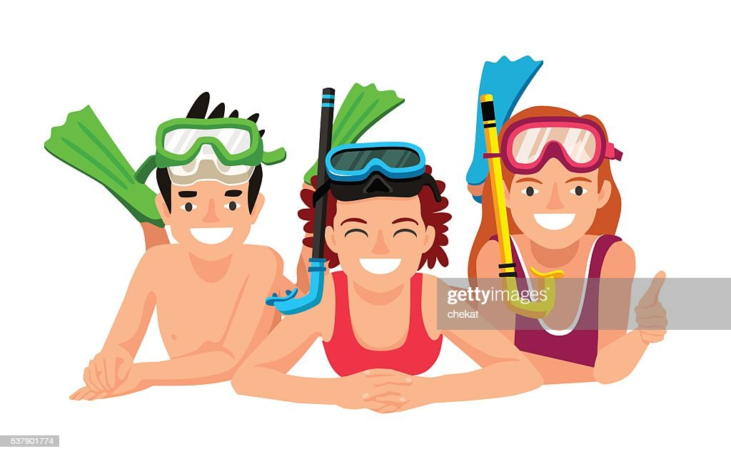 Happy children with underwater snorkeling