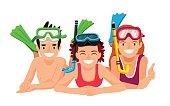 Happy children with underwater snorkeling