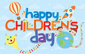 Happy Children's Day greeting card. Colorful letters surrounded by aerostatic balloon, comet, rocket, crayons and two children behind a world on a background of sky with clouds