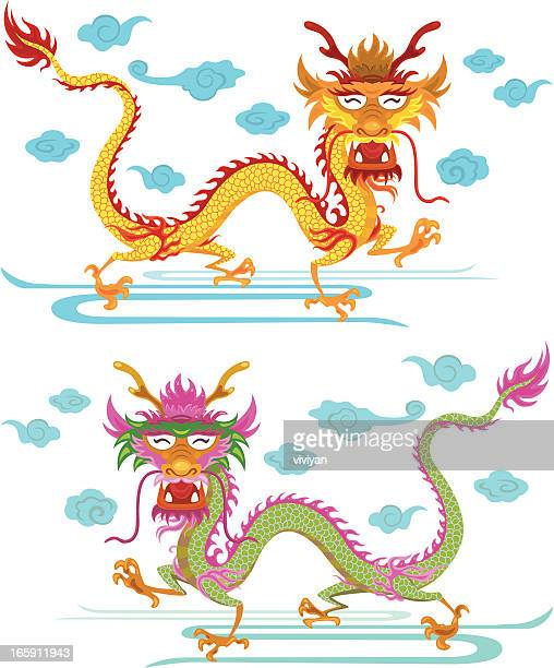 happy chinese dragon - chinese dragon stock illustrations
