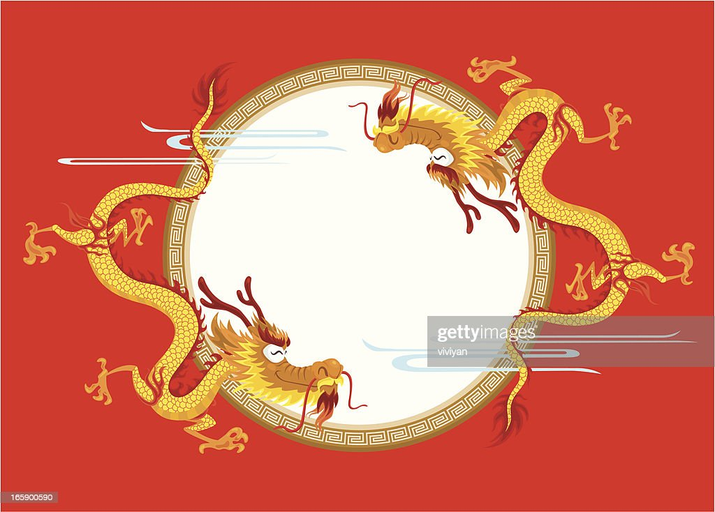 Happy Chinese Dragon With Frame Vector Art | Getty Images