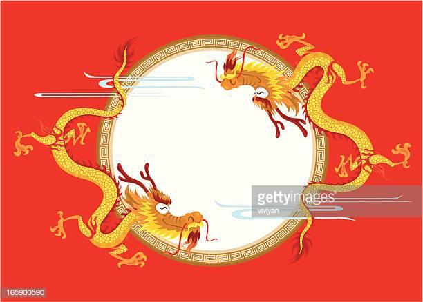 Feliz dragón chino con bastidor