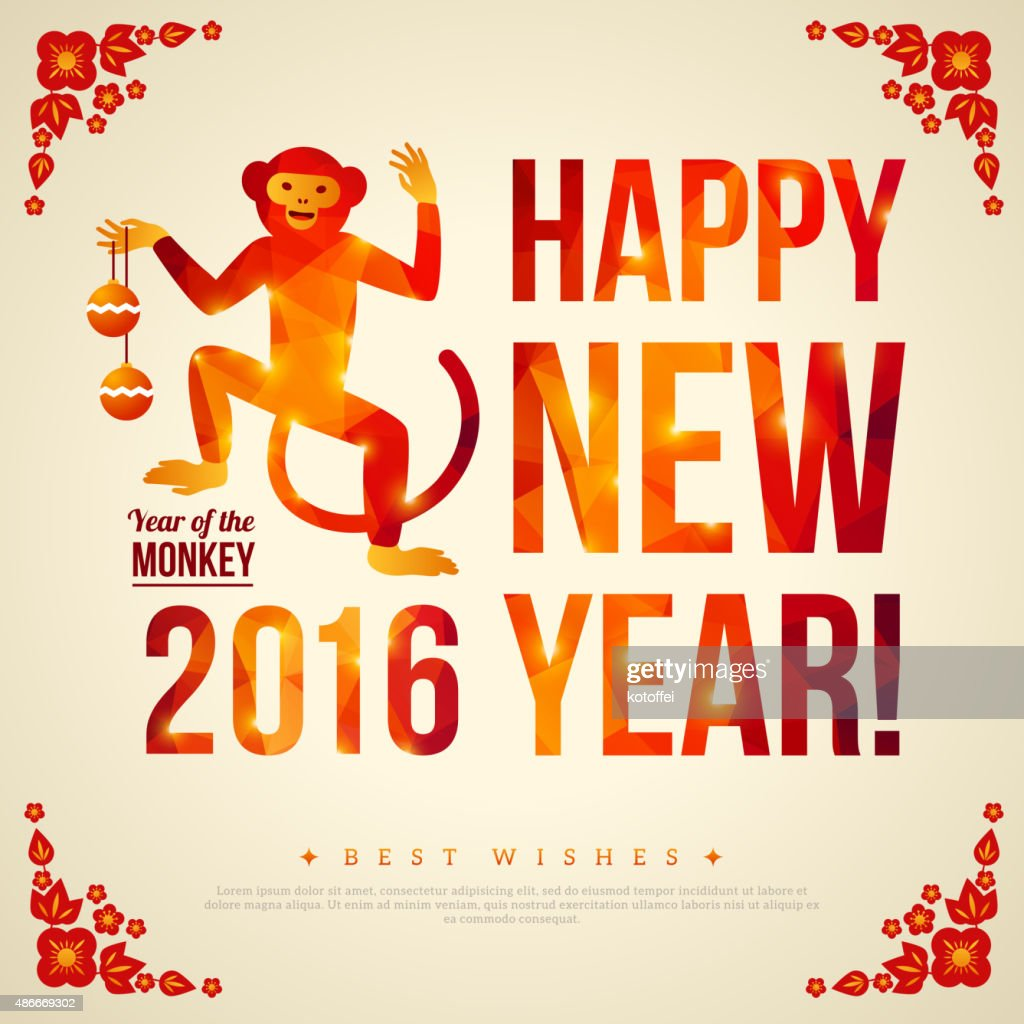 Happy Chinese New Year 2016 Greeting Card Vector Art Getty Images