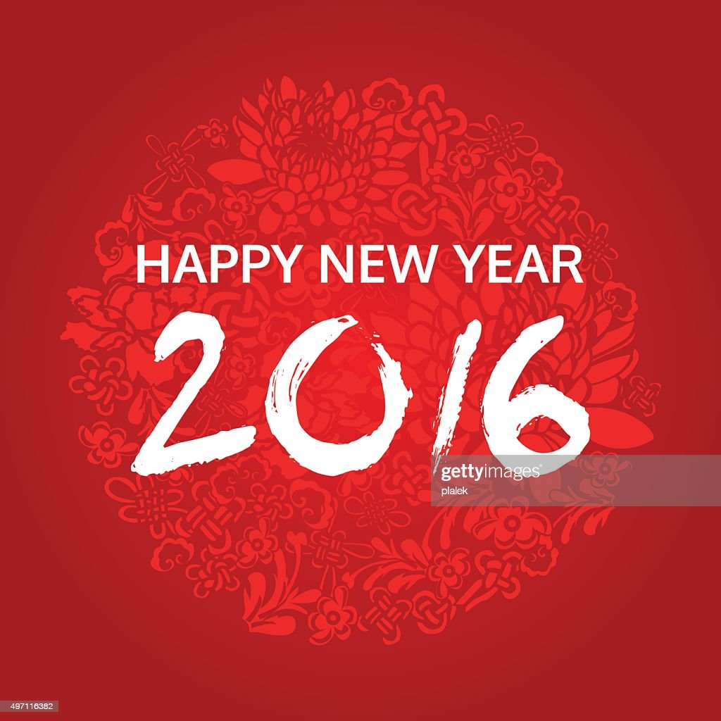 happy chinese new year 2016, red card, vector