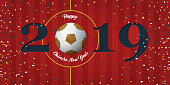Happy Chinese New Year 2019 banner with soccer ball and paper confetti on soccer field background. Banner  template design for New Year decoration in Soccer or Football Concept. Vector.