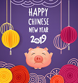 Happy chinese new year 2019. Vector greeting card template