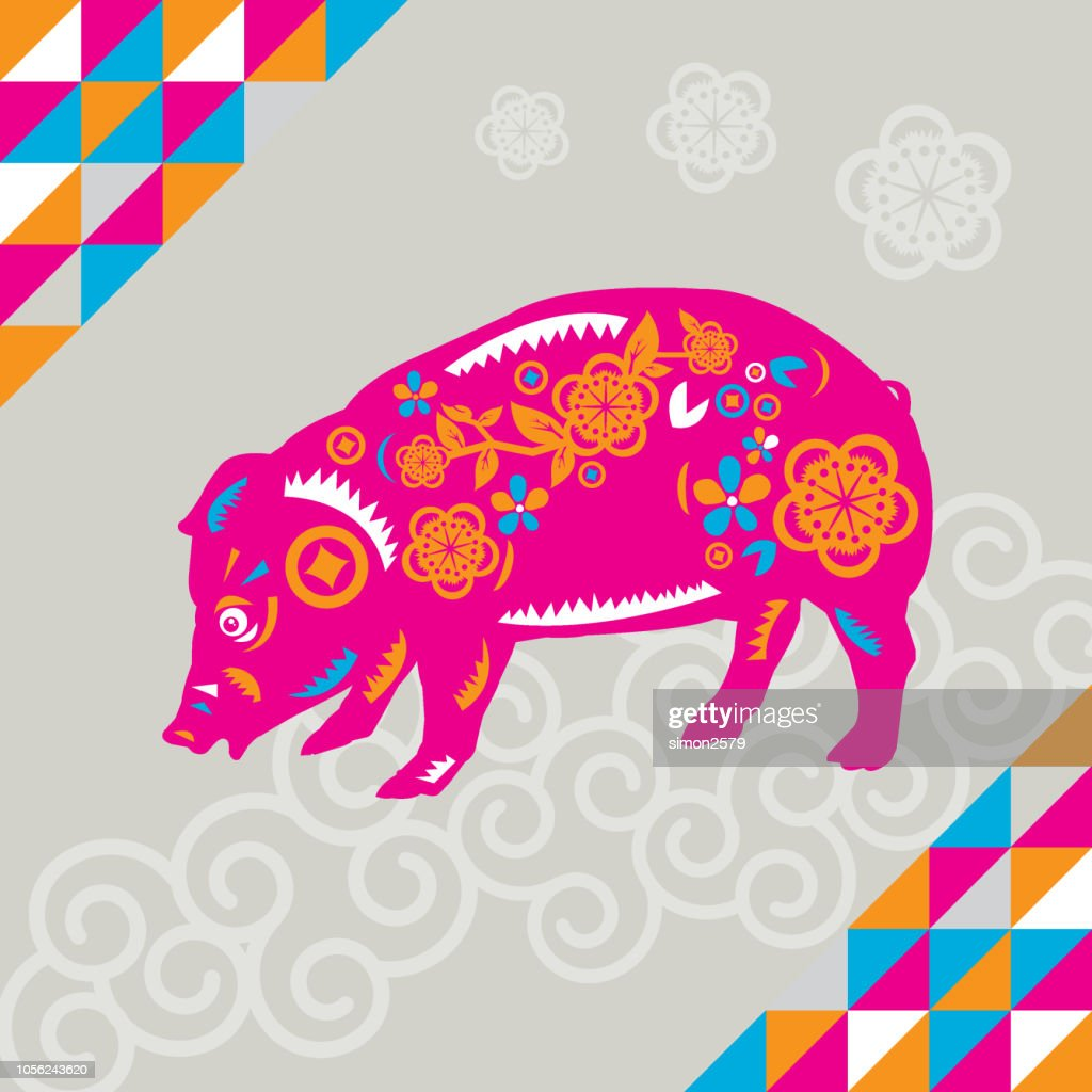 Happy Chinese New Year 2019 Year Of The Pig Paper Cut Style stock