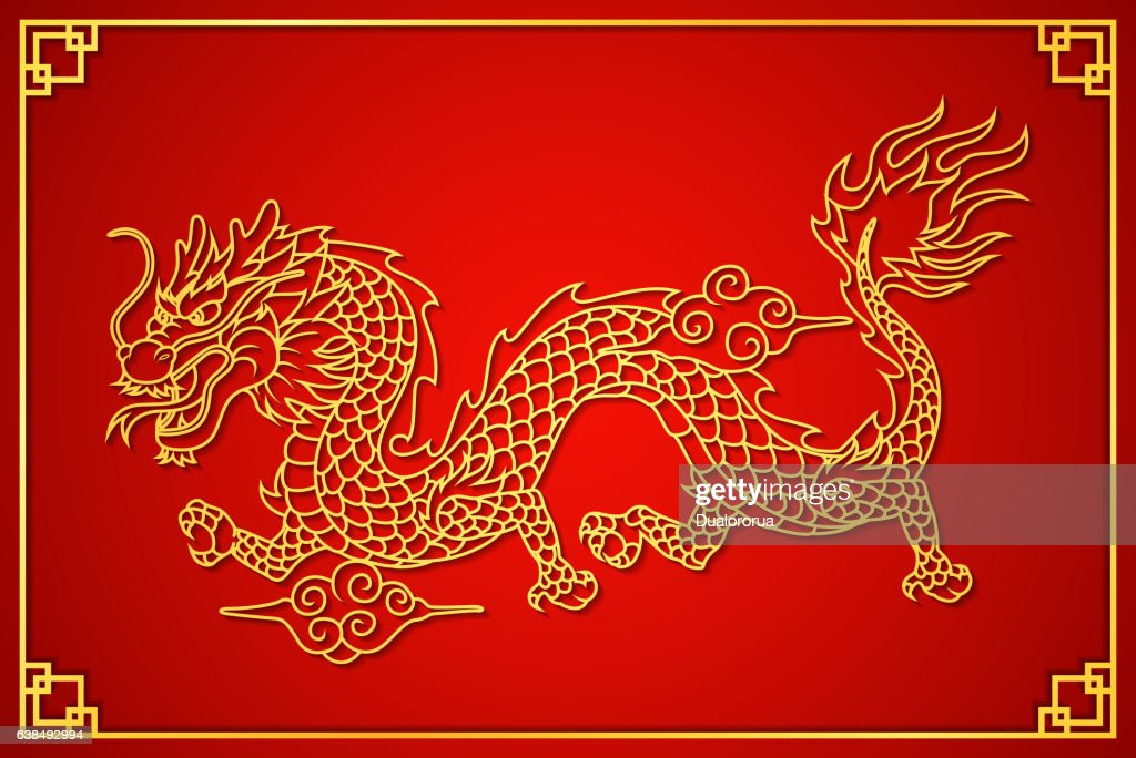Happy Chinese new year card with gold dragon