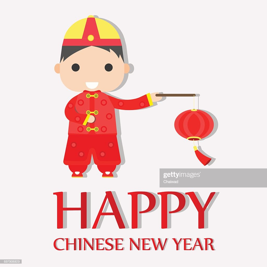 Happy Chinese New Year Greetings Happy Boy Vector Art Getty Images