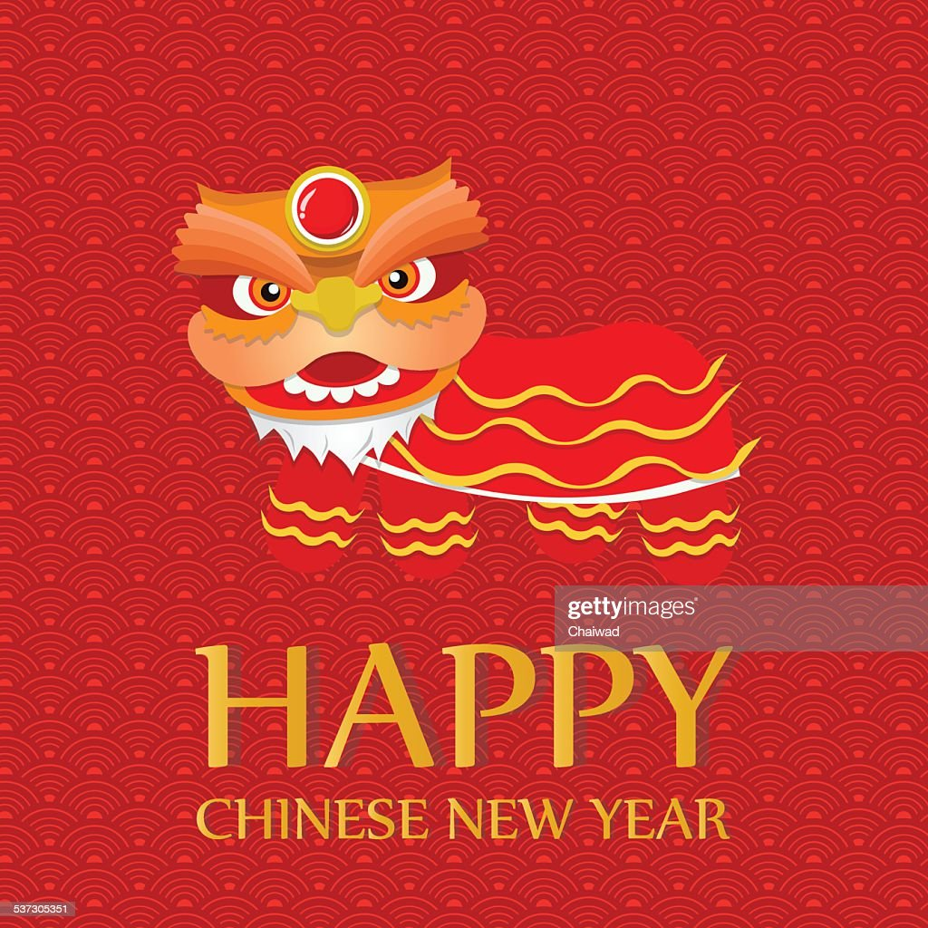 Happy Chinese New Year Greetingslion Dance Vector Art Getty Images