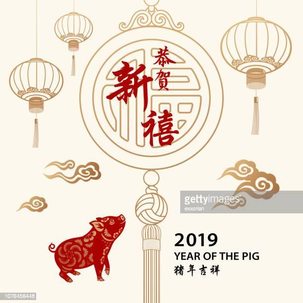 bildbanksillustrationer, clip art samt tecknat material och ikoner med happy kinesiska nyåret & gris - kinesiska lyktfestivalen
