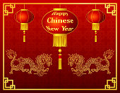 Happy chinese new year with lantern and golden dragon