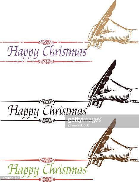 stockillustraties, clipart, cartoons en iconen met happy christmas handwriting. - 19e eeuwse stijl