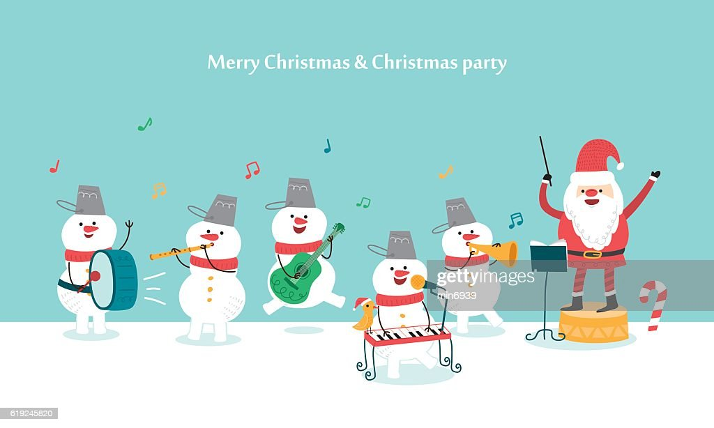 Happy Christmas Party. Santa Claus and Snowman. vector illustration