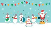 Happy Christmas Party. Santa Claus and Snowman. vector