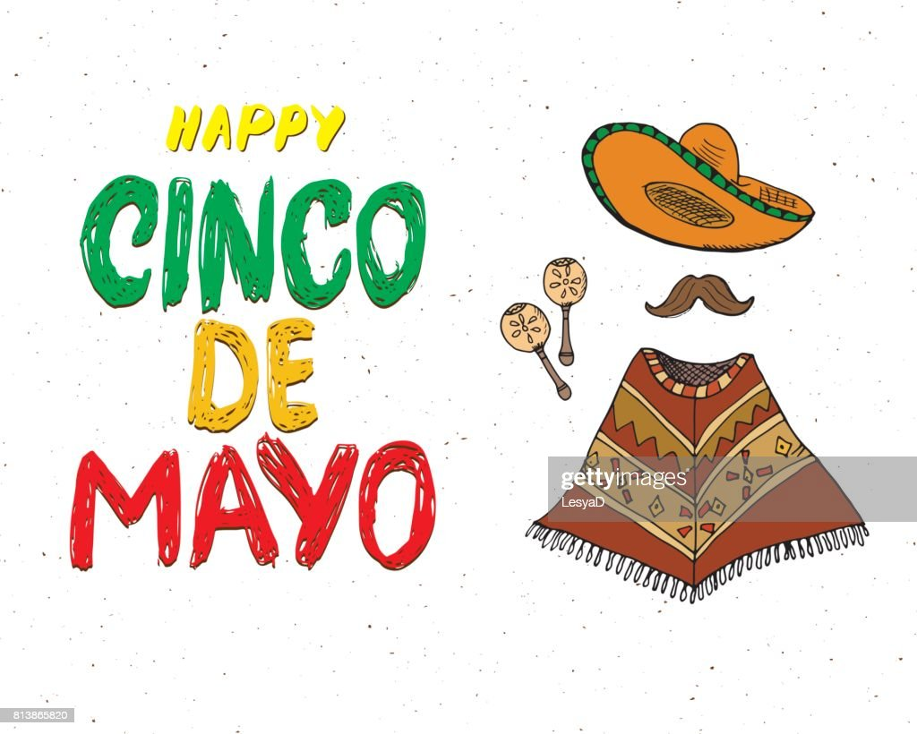 Happy cinco de mayo greeting card hand lettering mexican holiday happy cinco de mayo greeting card hand lettering mexican holiday vector illustration isolated on m4hsunfo