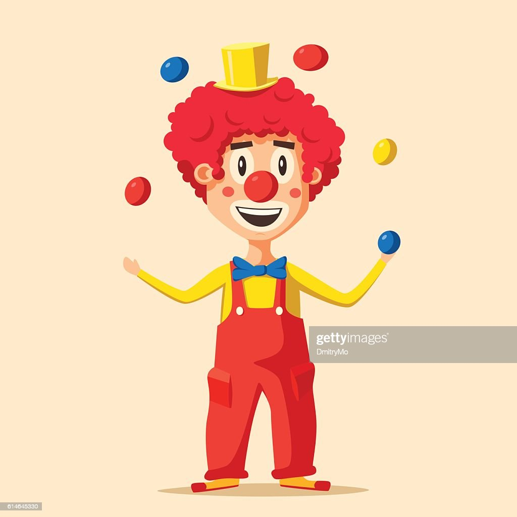 Happy circus clown. Cartoon vector illustration