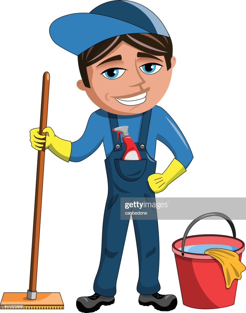Happy Cleaner Man isolated