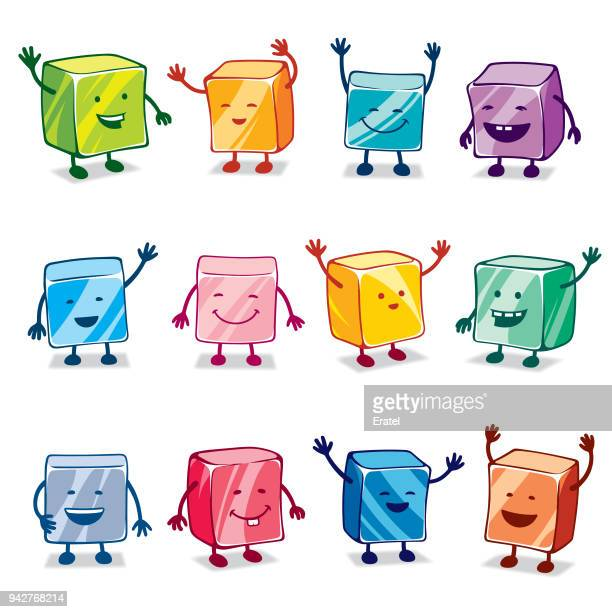 happy colorful candy characters - gelatin dessert stock illustrations, clip art, cartoons, & icons