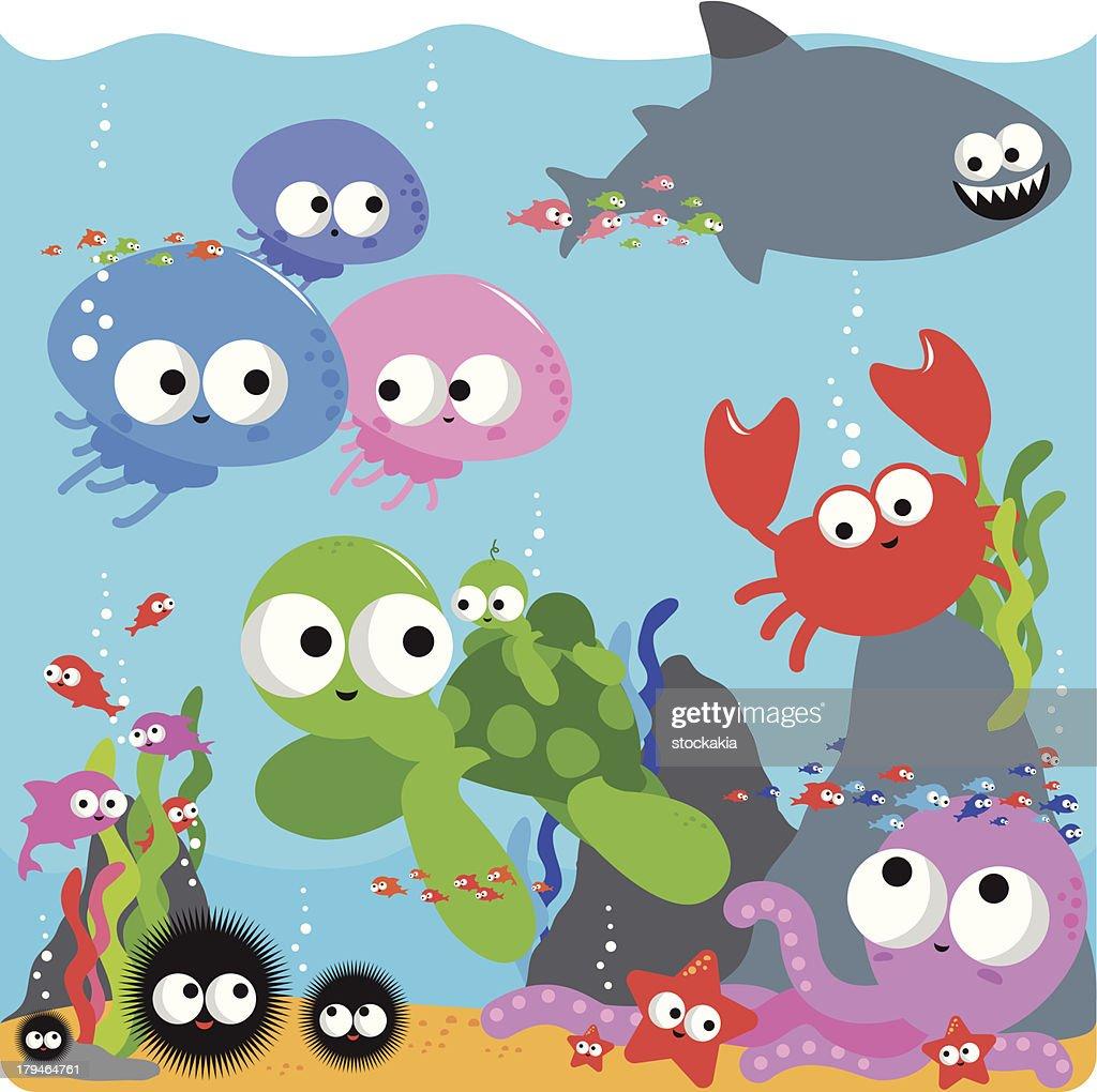 Happy colourful sea animals