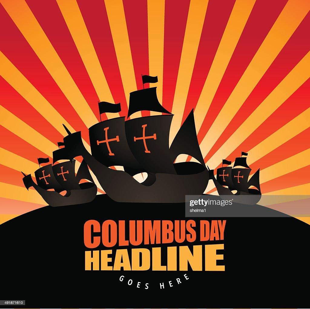 Happy Columbus Day Burst Background