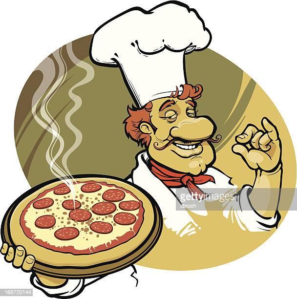 ilustrações de stock, clip art, desenhos animados e ícones de feliz cook - pizzaria