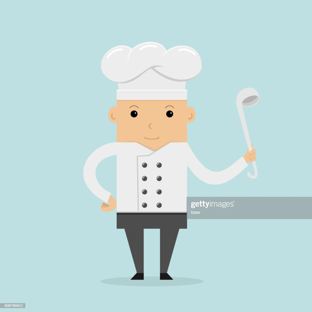 Happy cook with ladle