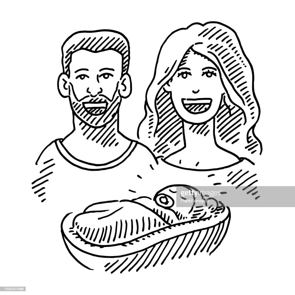 Glückliches Paar und Neugeborenen Baby Zeichnung : Stock-Illustration