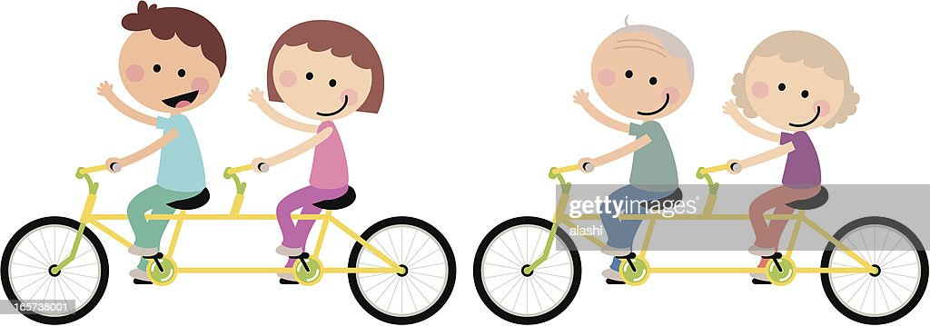 Happy Couple Family Cycling Tandem Bicycle : stock illustration