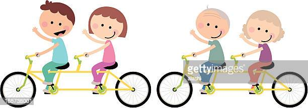 Happy Couple Family Cycling Tandem Bicycle