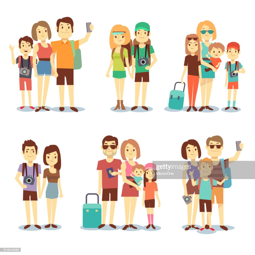 Happy couple, family, people, tourists vector travelling cartoon characters